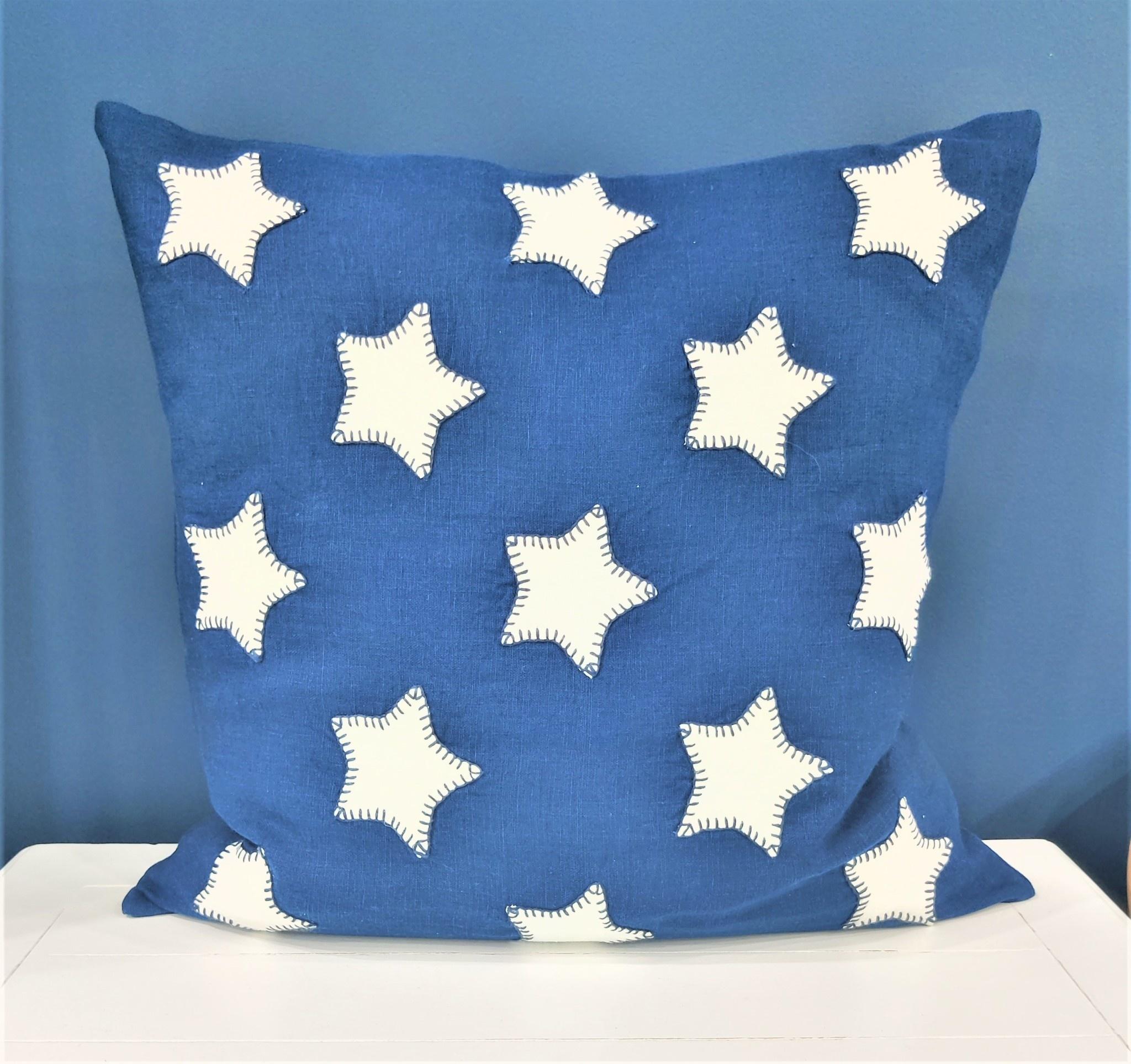 Stars Embroidered Pillow Indigo Linen w/ White Stars 21x21