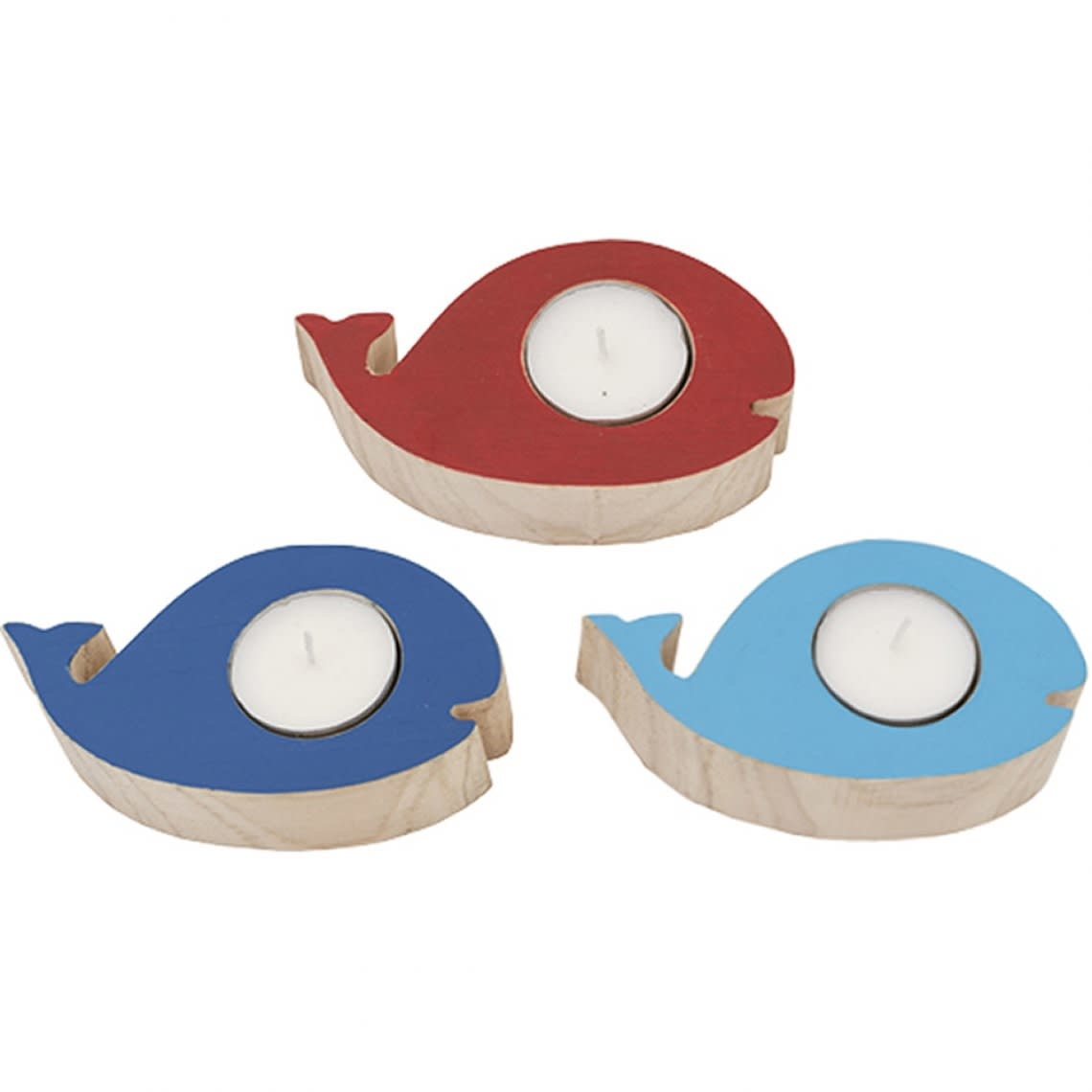 Whale Candle Holder Light Blue