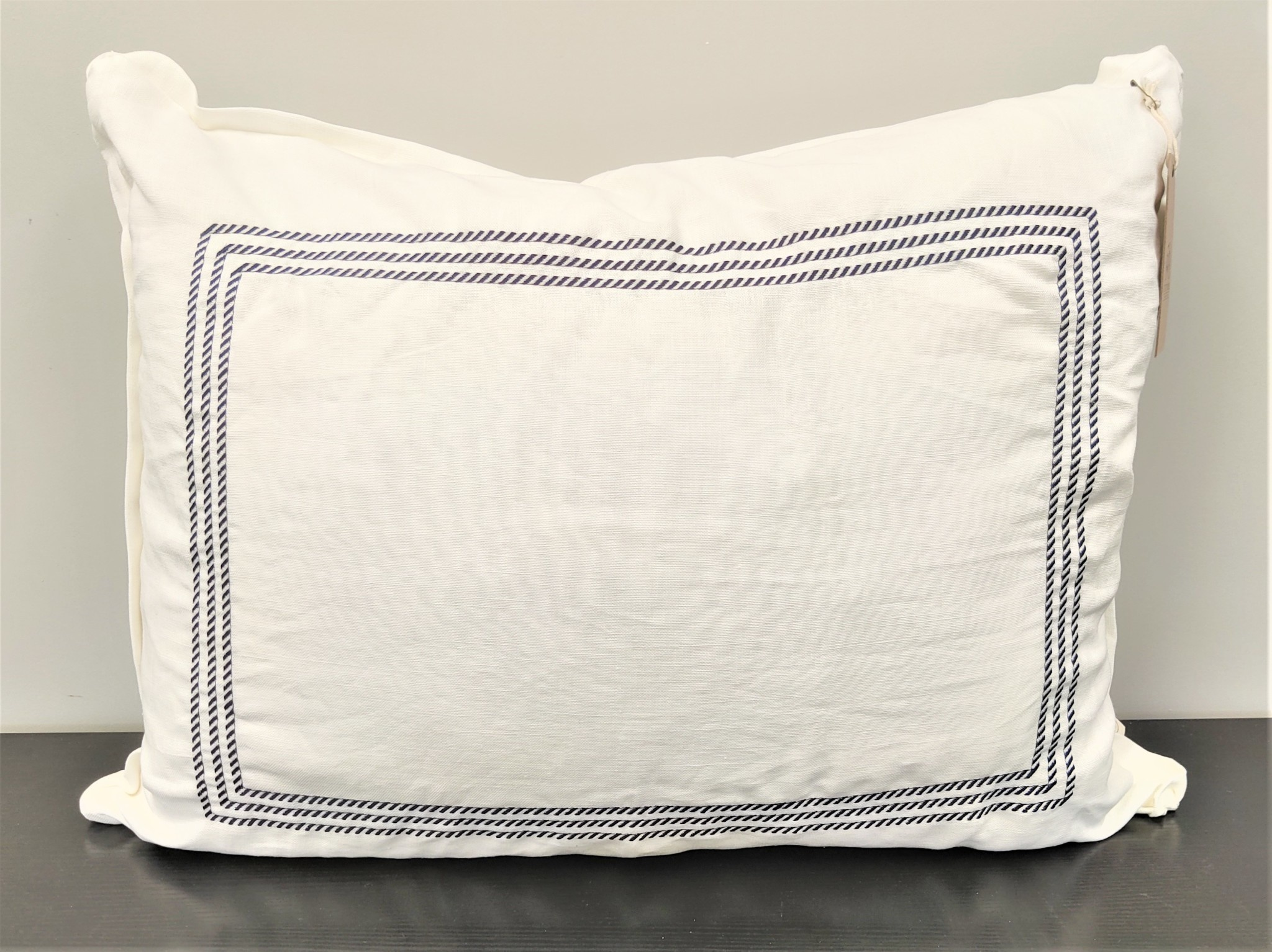 White Belgium Linen with Navy Ticking Frame Embroidery Sham