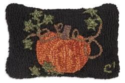 Pumpkin on Black  8x12 Hooked Pillow