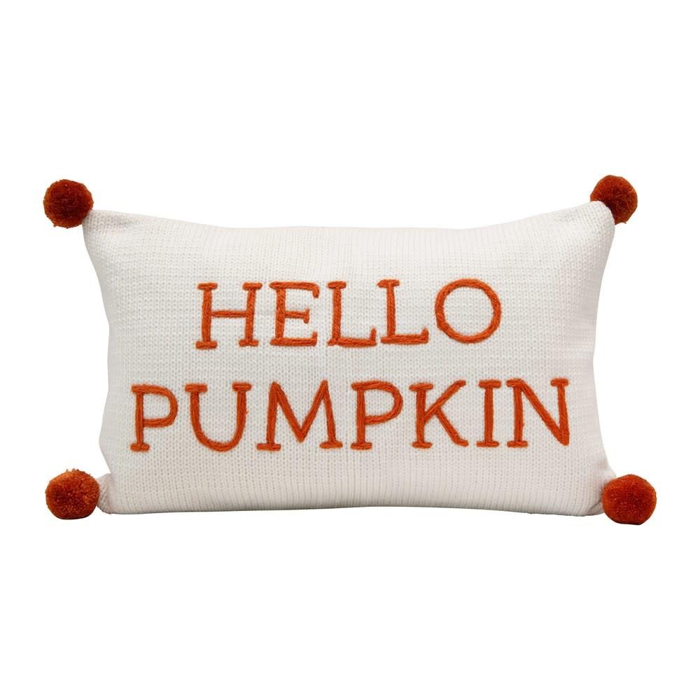 Cotton Knit Lumbar Pillow w/ Embroidery & Pom Poms Hello Pumpkin, Cream Color & Orange
