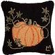 Cinderella Pumpkin on Black 14x14 Hooked Pillow