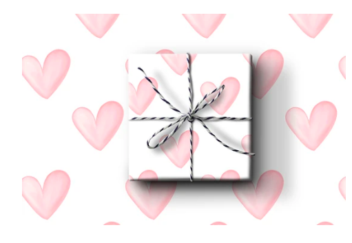 Pink Hearts Wrapping Paper (Set A)
