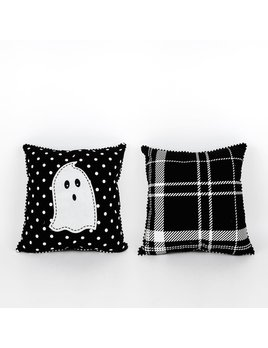 14x14 Reversible Pillow (GHOST) bk/wh