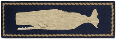 White Whale on Blue Hooked Runner 30x8