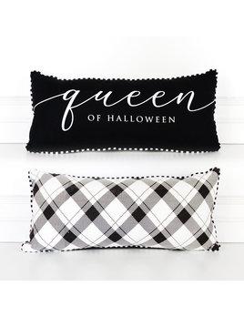 18.25x8.25 Pillow (QUEEN HALLOWEEN) bk/wh