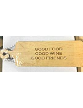 Good Food Wine Friends 20x6 Handled Maple Bread Board