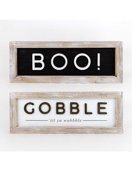 24x9x2 Reversible Wood Framed Sign (GBL/BOO) wh/bk/ntrl