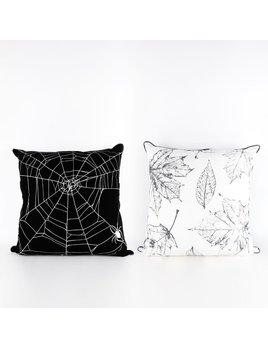 24x24 Reversible Linen Pillow (WEB/LEAVES) wh/bk/gy