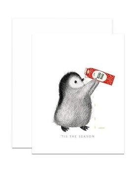 Penguin Chugging Eggnog Card and Envelope