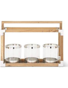 """18.5"""" Teak Wood Open Lantern w/ 3 Glass Cylinders"""
