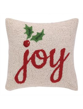 Joy With Holly Hooked Pillow 16x16