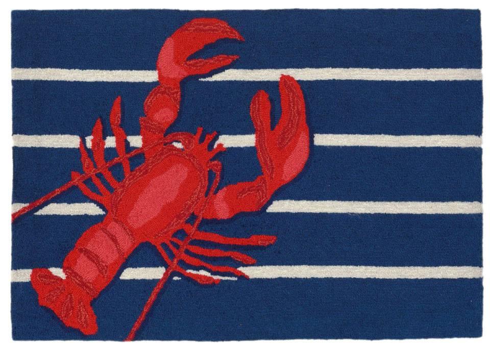 Navy Lobster On Stripes Rug