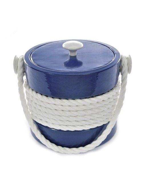 Blue Castillian 3 qt Rope Ice Bucket