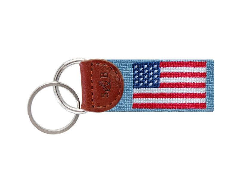 American Flag Key Fob Light Blue