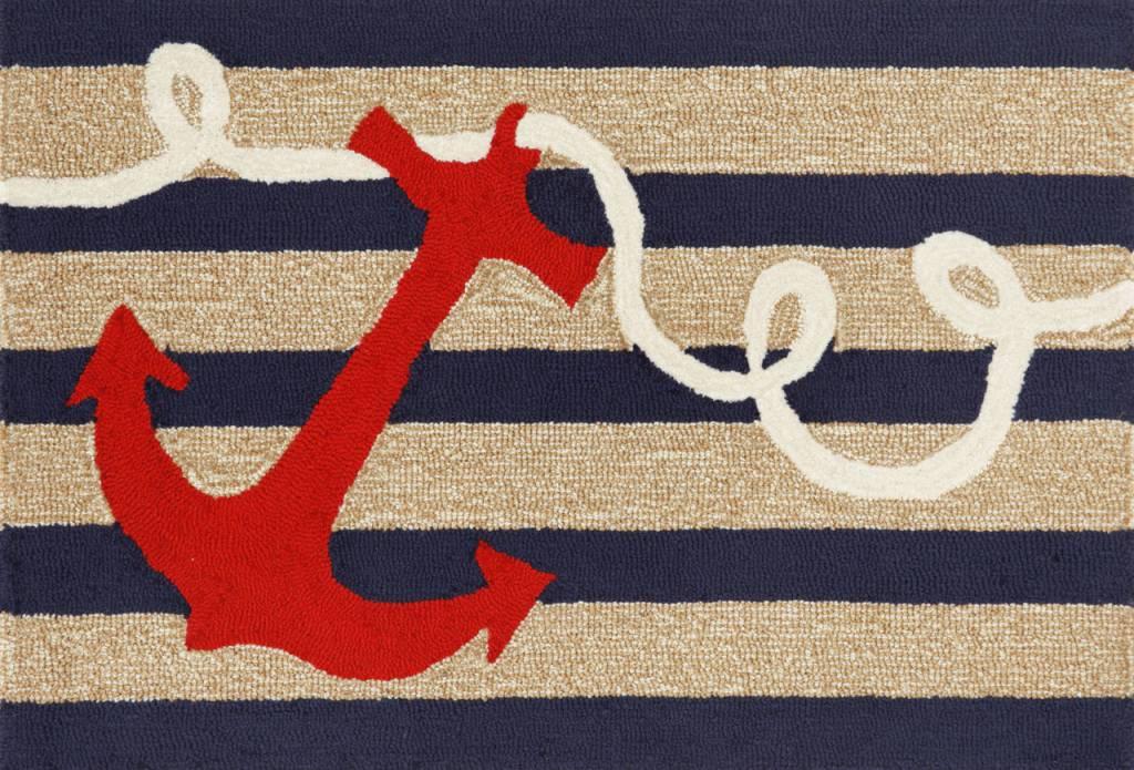 Navy Stripes Anchor Rug 24x36