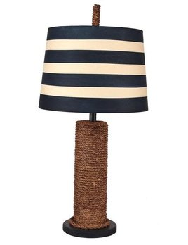 Manila Rope Spindle Lamp Navy