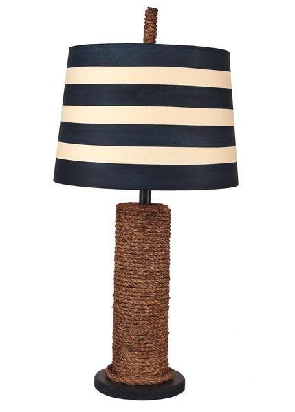 Manila Rope Spindle Lamp Navy