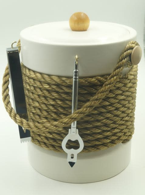 White Tan Rope 5qt Ice Bucket with Tools