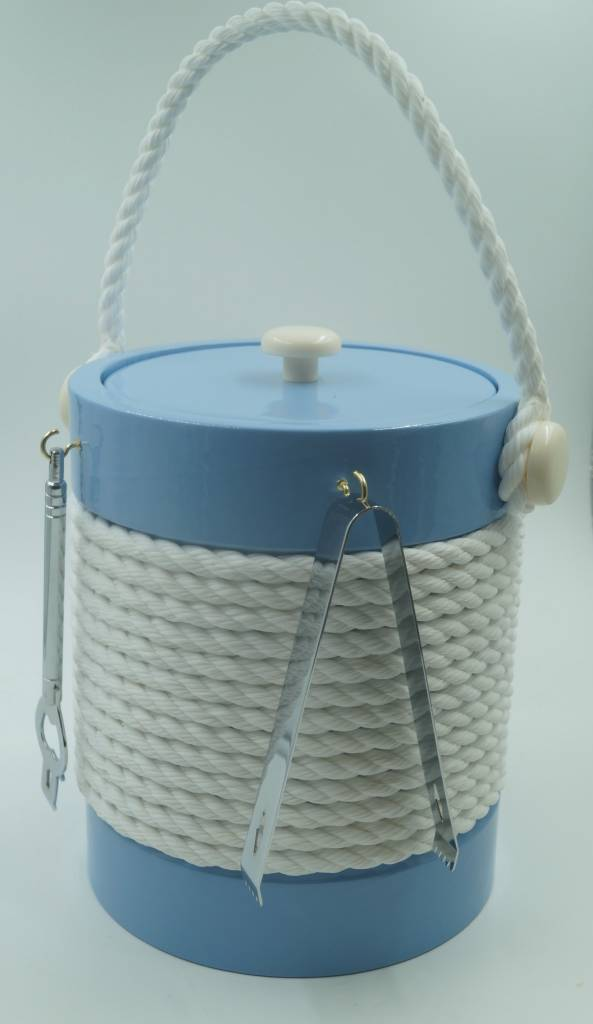 Baby Blue 5Qt White Rope Ice Bucket