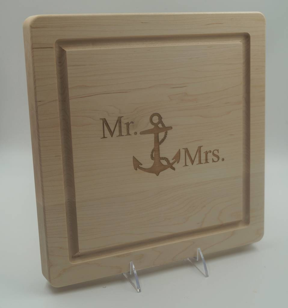 Cutting Board Mr & Mrs Anchor 12x12