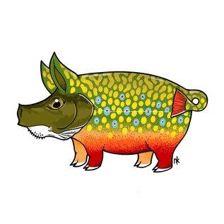 Nate Karnes Pig Brown Trout Decal Sticker