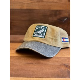 RIGS Canvas Cap with Distressed Leather - Khaki/Brown