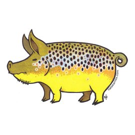Nate Karnes Pig Brown Trout Decal Sticker