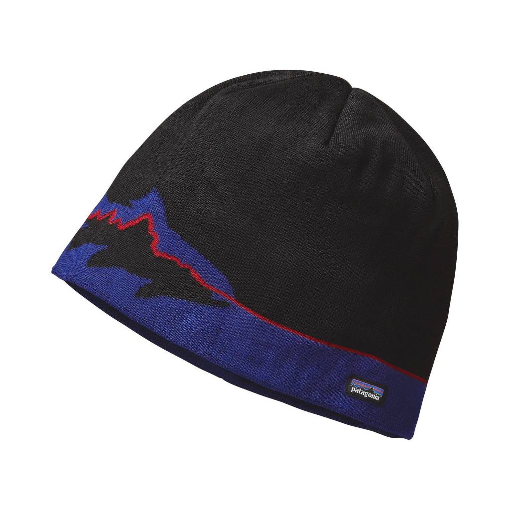 Patagonia Beanie Hat -Fitz Roy - Black - RIGS Fly Shop 032e08539ff