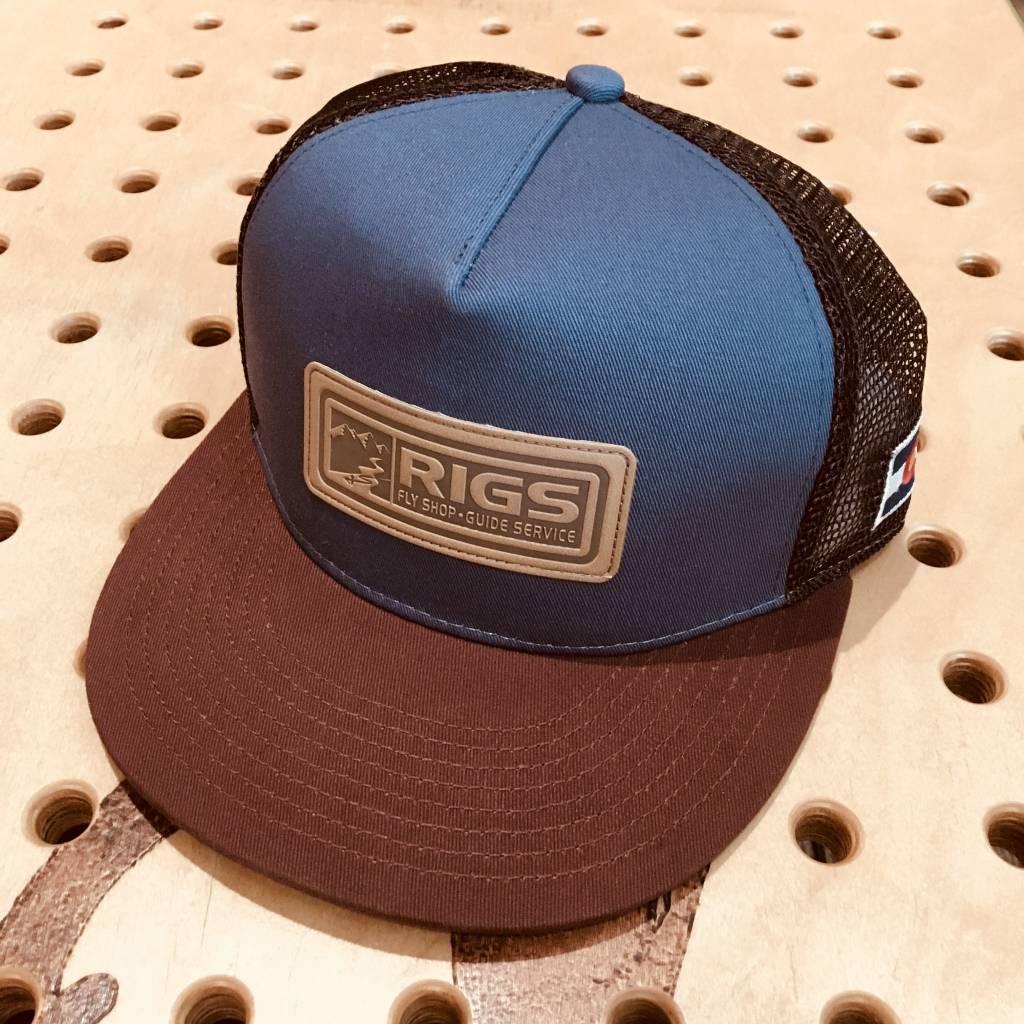 b7d159857dd RIGS Custom 5 Panel Flat Brim Mesh Hat - Indigo Copper - RIGS Fly Shop