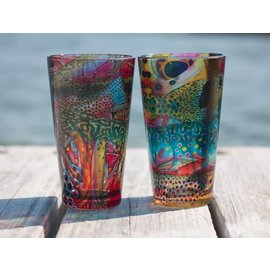 DeYoung Pilsner Pint Glass - Trout Confetti Yellow