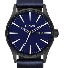 Nixon Nixon - SENTRY LEATHER - All Black/Dark Blue