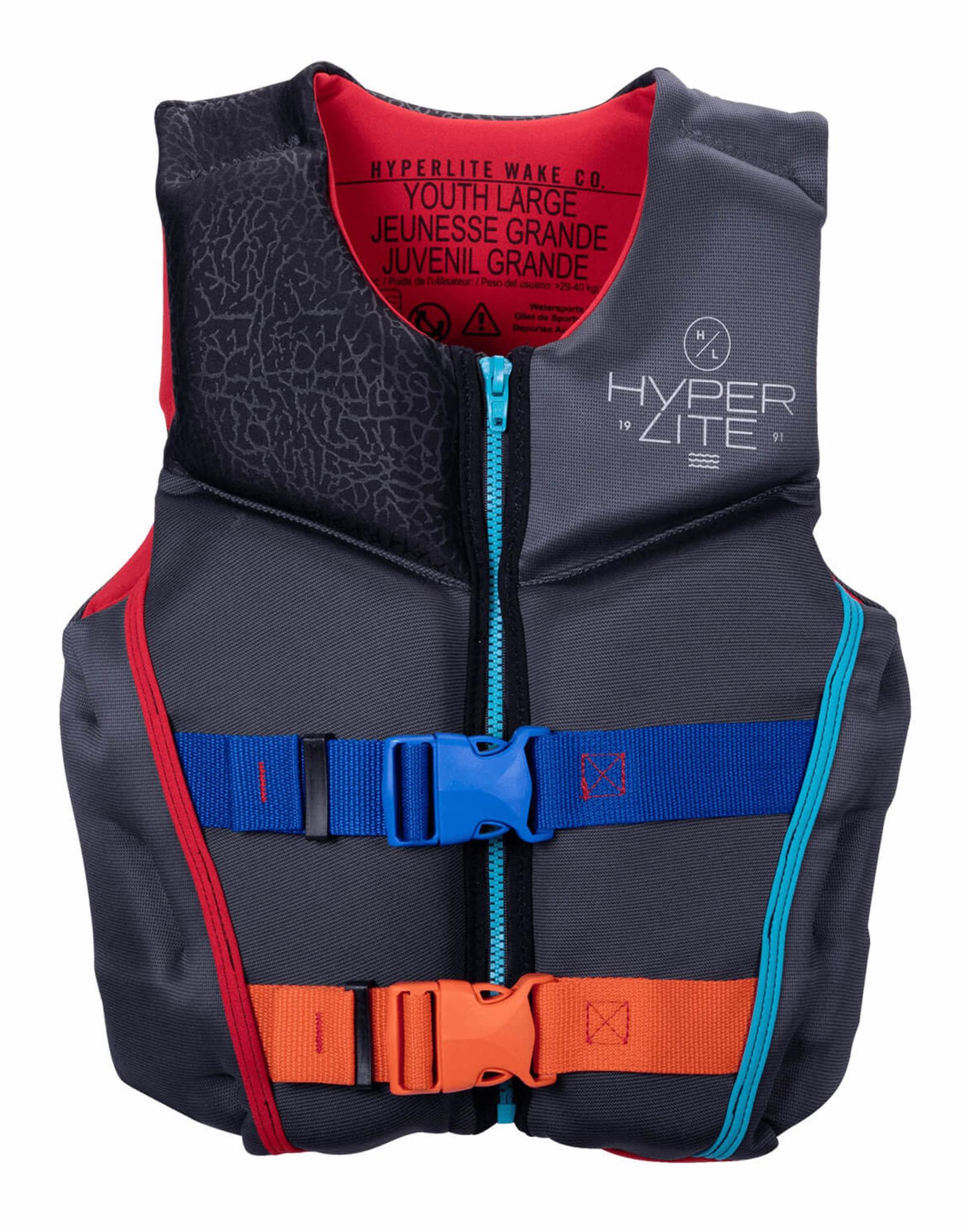 HyperLite HyperLite - Yth INDY HMZ NEO PFD - Ash/Red - L (65-90lbs)