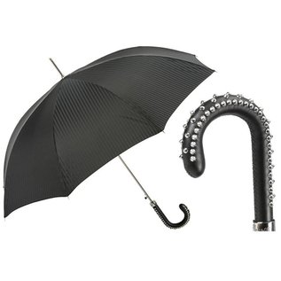 Pasotti Pasotti Textured Black Umbrella with Studded Handle