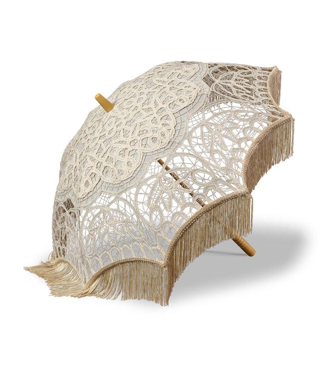 Goldenstate Ivory Lace Parasol with Fringe