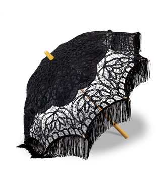 Goldenstate Black Lace Parasol with Fringe