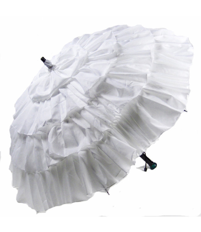 Vista White Ruffled Umbrella