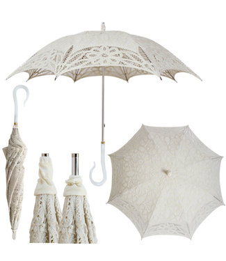 Vista Ivory Lace Parasol with Fancy Handle