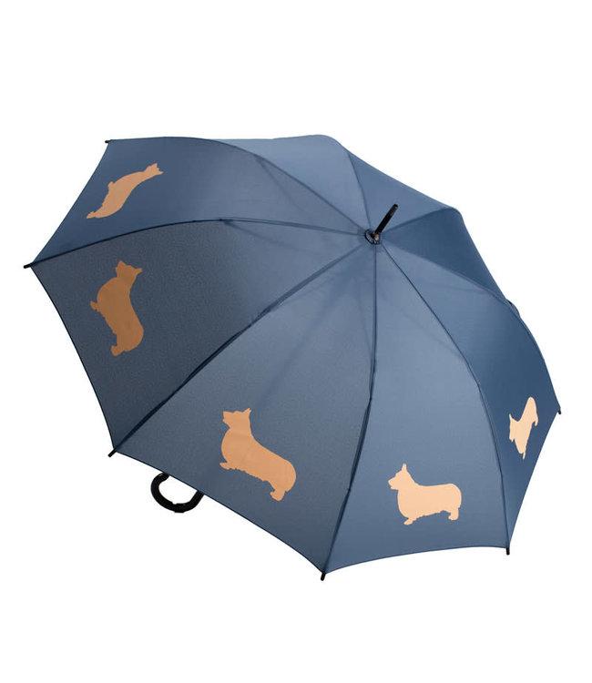 San Francisco Umbrella Animal Umbrella - Welsh Corgi - Blue/Peach