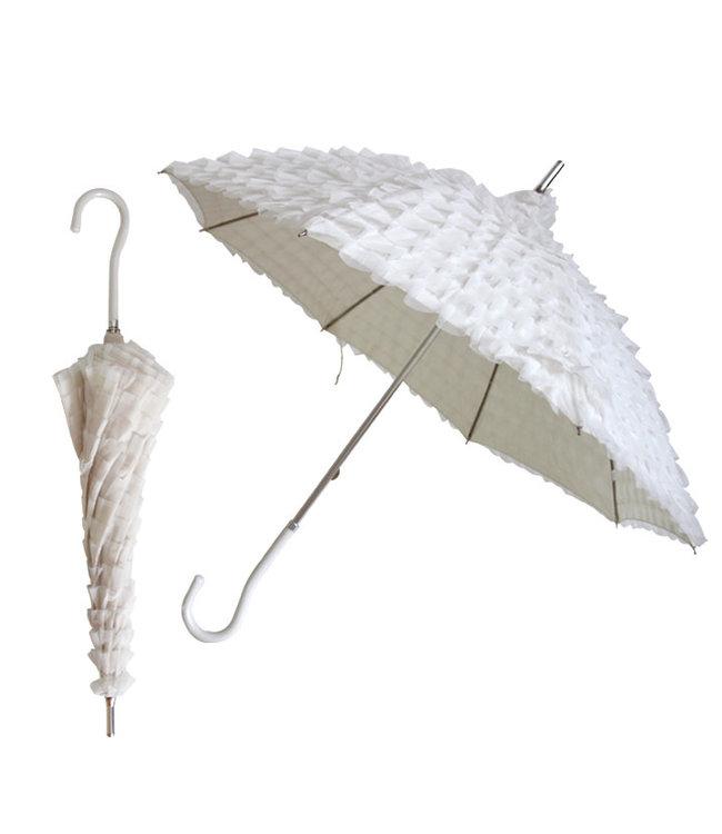 Vista Ruffled Lace Umbrella White