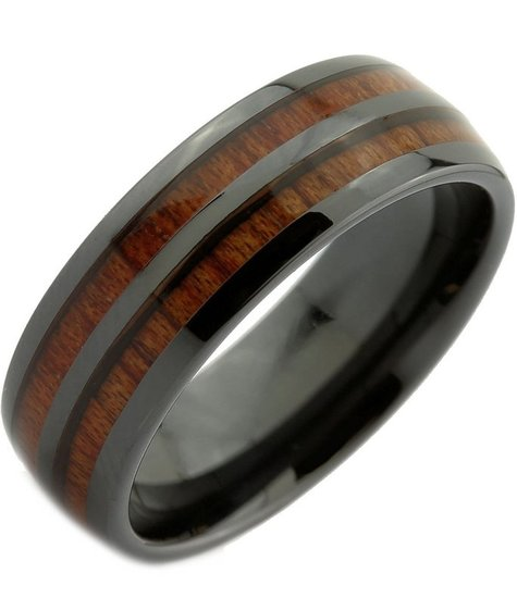 Konifer Ceramic and wood ring #CT002