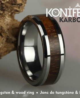 Konifer Tungsten and wood Ring #KT001
