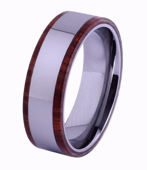 Konifer Tungsten and wood Ring #KT007
