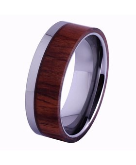 Tungsten and wood Ring #KT006