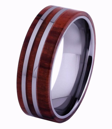 Tungsten and wood Ring #KT005