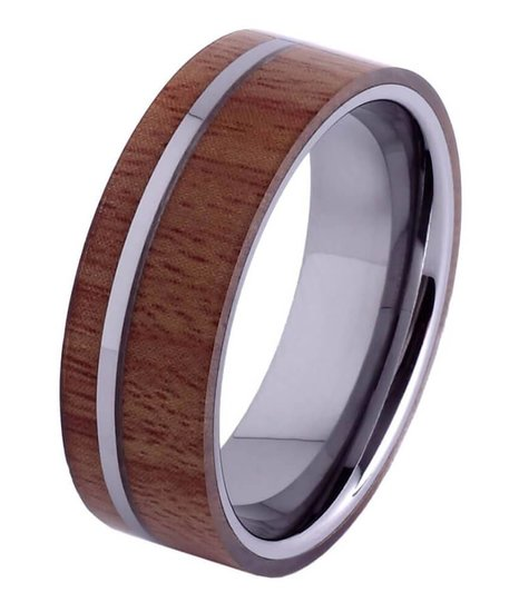 Tungsten and wood Ring #KT008