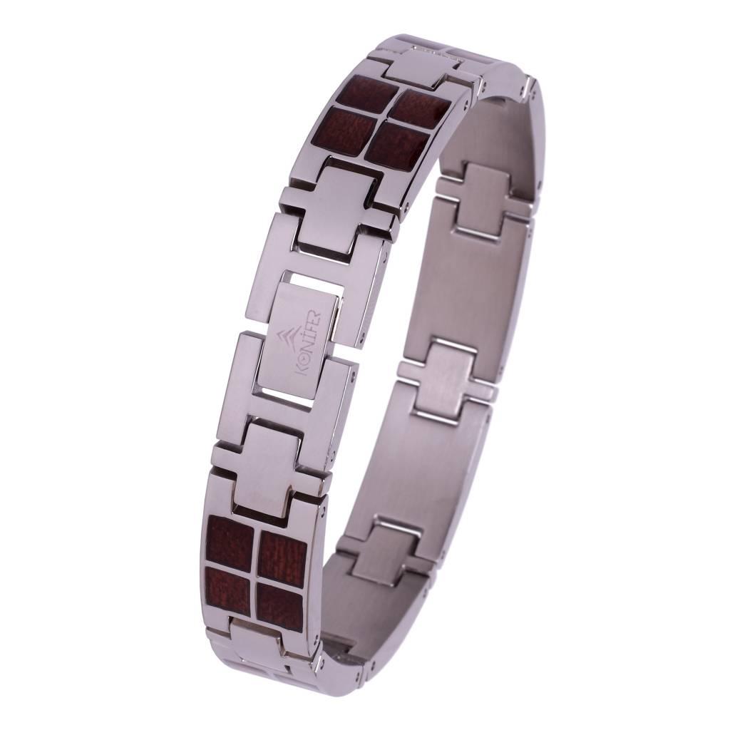 Konifer Bracelet de Stainless et Bois #BT001
