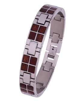 Konifer Stainless and Wood Bracelet #BT001