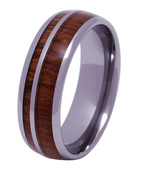 Tungsten and wood ring #KT013