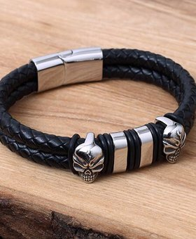 Leather and Stainless Bracelet #KC018BK